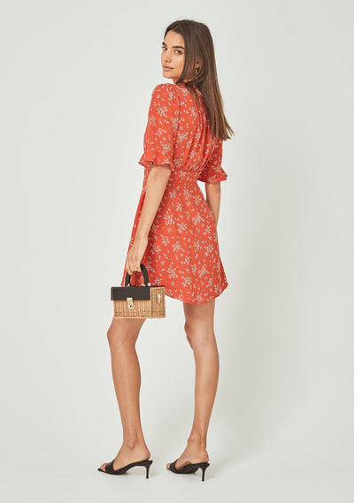 Maeve Mimi Mini Dress Pastel Orange - Auguste The Label