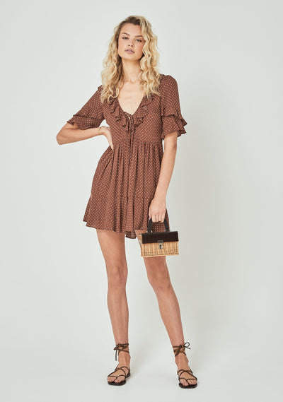 Collins Frida Mini Dress Brown - Auguste The Label