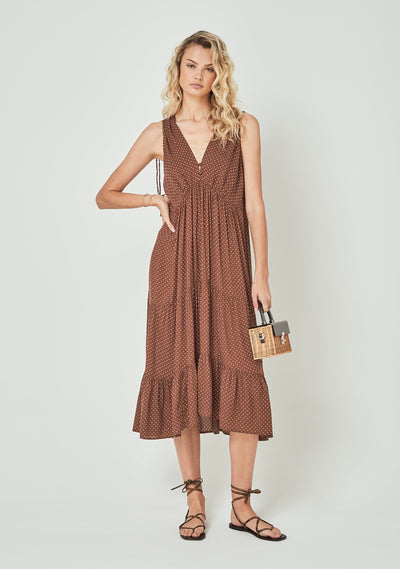 Collins Farrah Midi Dress Brown - Auguste The Label