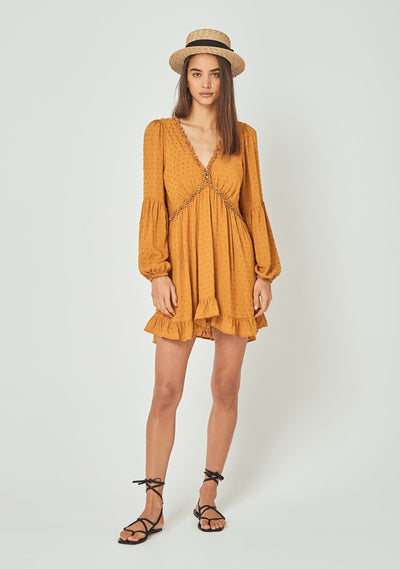 Helena Sleeved Mini Dress Amber - Auguste The Label