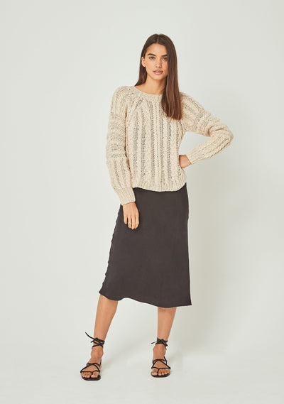 Chloe Cropped Cable Jumper Cream - Auguste The Label