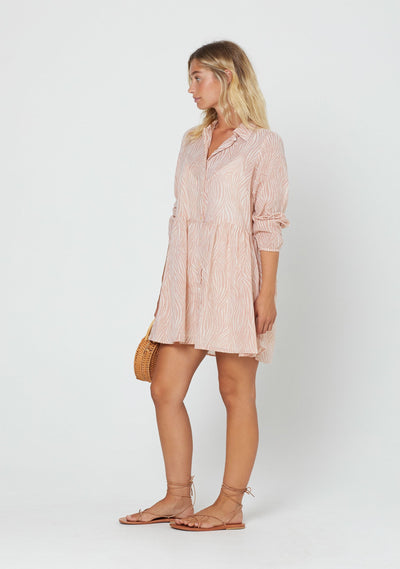 Zebra Zara Shirt Dress Blush - Auguste The Label