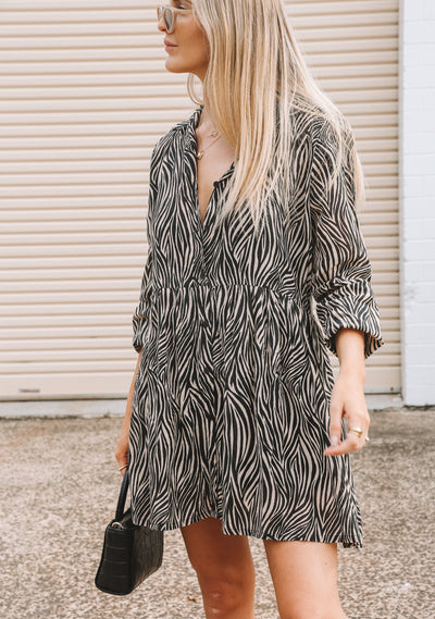 Zebra Zara Shirt Dress Black