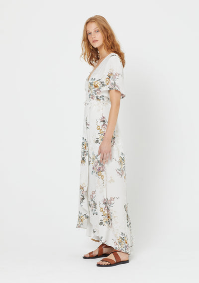 Alice Annika Wrap Maxi Dress Ivory - Auguste The Label