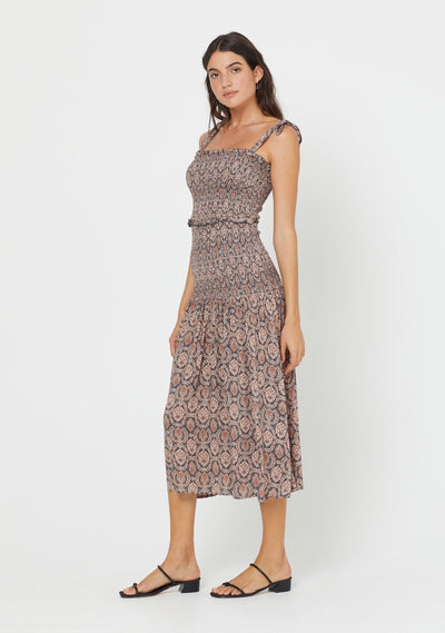 Montague Bennett Shirred Midi Dress Ink - Auguste The Label
