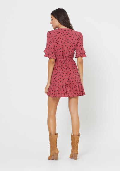 Mabel Poppy Wrap Mini Dress Persian Red - Auguste The Label