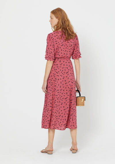 Mabel Lane Wrap Midi Dress Persian Red - Auguste The Label
