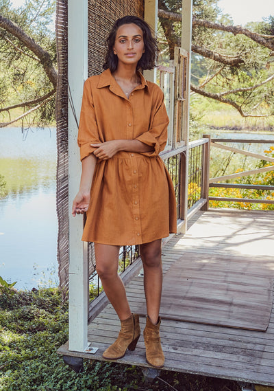Tabatha Mini Shirt Dress Saffron - Auguste The Label