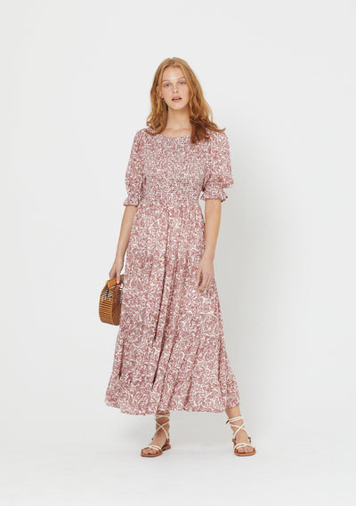Freya Lise Sleeved Maxi Dress Pink - Auguste The Label