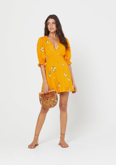 Lotta Fable Mini Dress Yellow - Auguste The Label