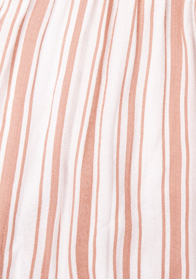 Riviera Poolside Mini Dress Almond Stripe - Auguste The Label