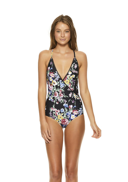 Cross Front One Piece Bambi Bloom Black