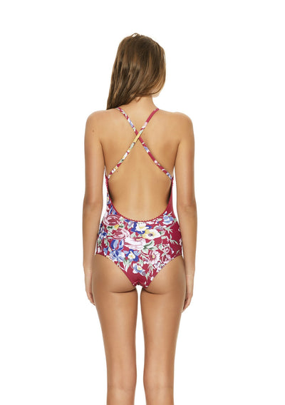 Cross Front One Piece Bambi Bloom Cherry Swimwear - Auguste The Label