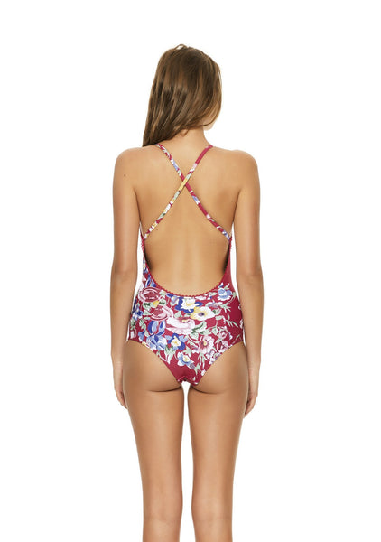 Cross Front One Piece Bambi Bloom Cherry