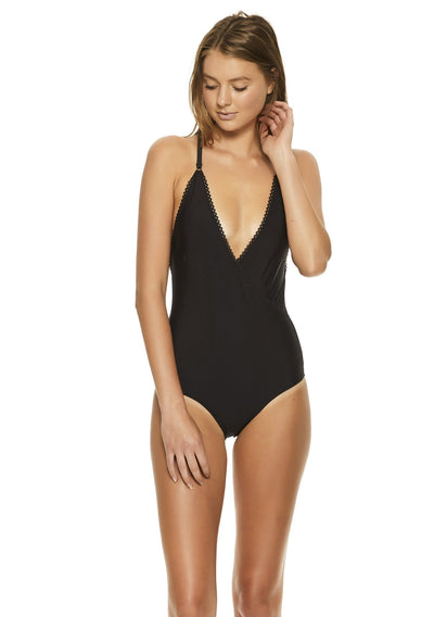 Cross Front One Piece Black Swimwear - Auguste The Label
