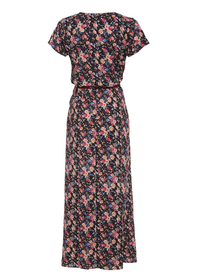 Wild Rose Maxi Wrap Dress Black - Auguste The Label