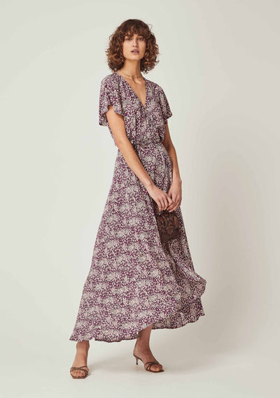 Gemima Muse Wrap Maxi Dress Purple - Auguste The Label