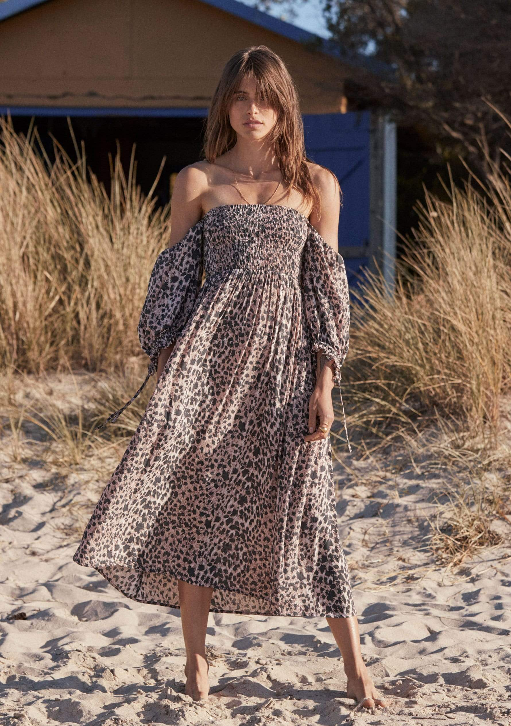 Wild Leopard Carlo Midi Dress Pink