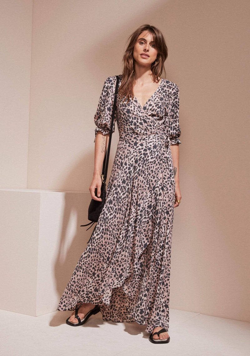 Wild Leopard Rita Maxi Wrap Dress Pink