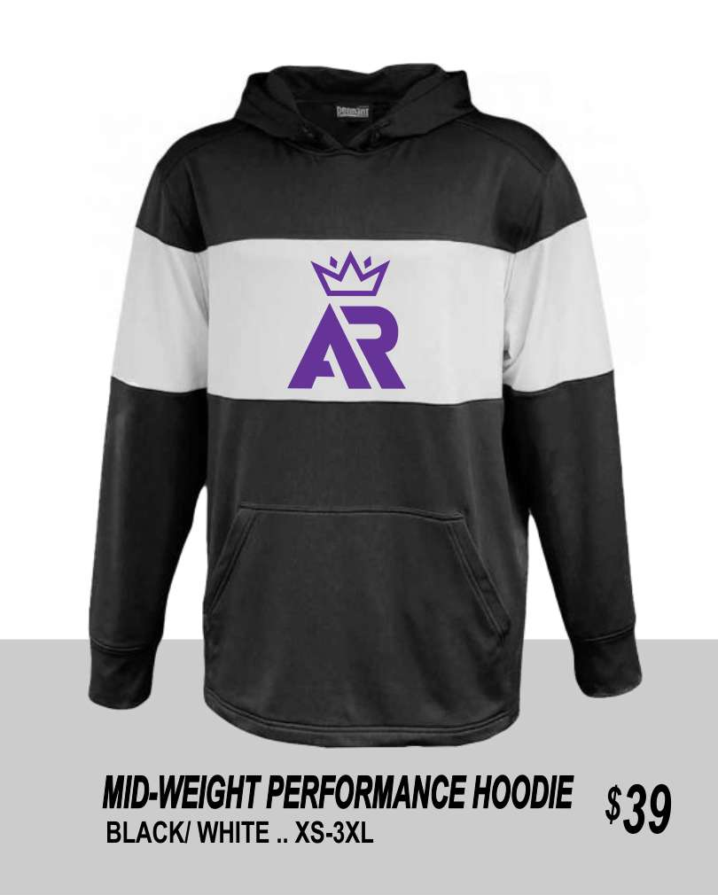 AR 2019 BLACK/WHITE PERFORMANCE HOODIE