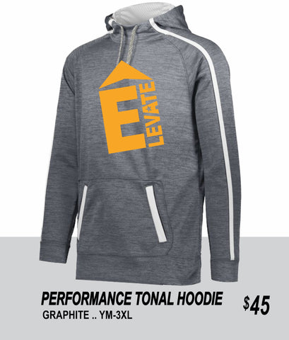 ELEVATE 2021 TONAL HEATHER GRAPHITE PERFORMANCE HOODIE