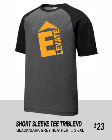 ELEVATE 2021 BLACK/DARK GREY HEATHER SHORT SLEEVE TRIBLEND TEE