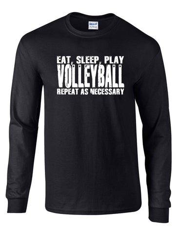 EAT SLEEP PLAY VOLLEYBALLON A LS BLACK DRYBLEND TSHIRT