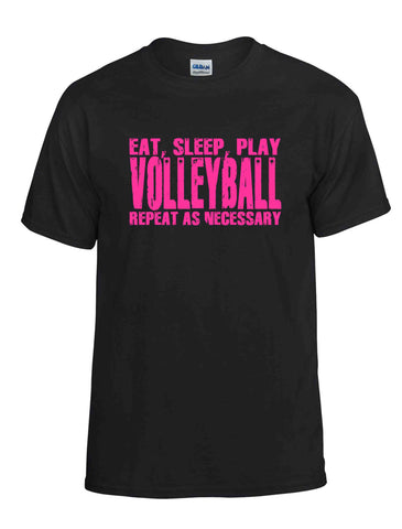 EAT SLEEP PLAY VOLLEYBALL PINK SS BLACK DRYBLEND TSHIRT