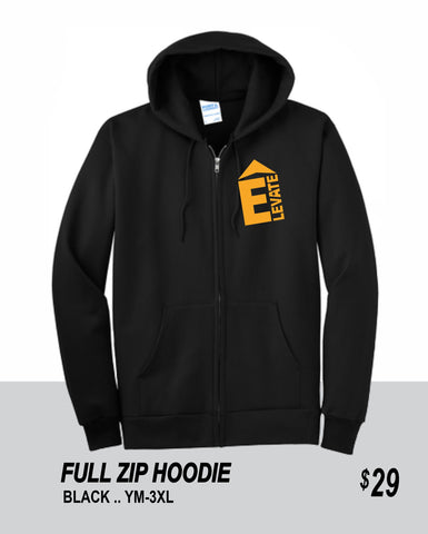 ELEVATE 2021 BLACK FULL ZIP HOODIE