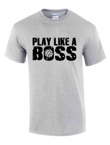 PLAY LIKE A BOSS BLACK SS SPORT GREY DRYBLEND TSHIRT