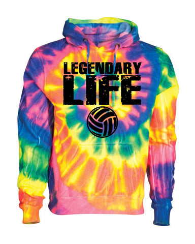 LEGENDARY LIFE BLACK ON A TIE DYE HOODIE