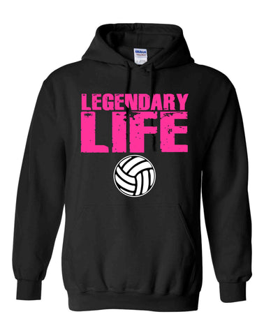 LEGENDARY LIFE PINK WITH WHITE VOLLEYBALL ON A BLACK HOODIE