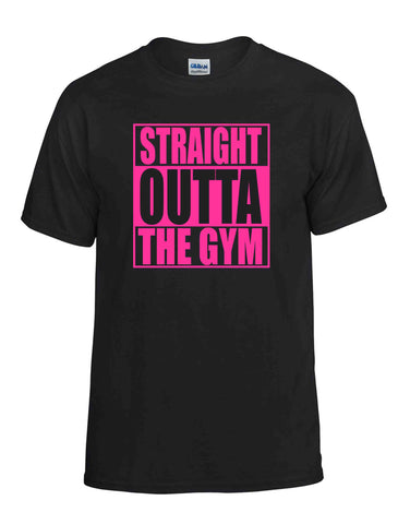 STRAIGHT OUTTA THE GYM PINK SS BLACK DRYBLEND TSHIRT