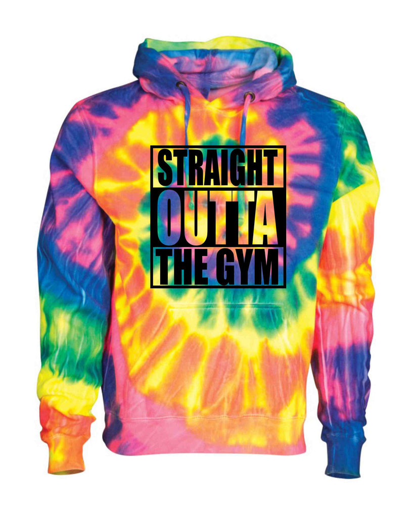 STRAIGHT OUTTA THE GYM BLACK ON A TIE DYE HOODIE