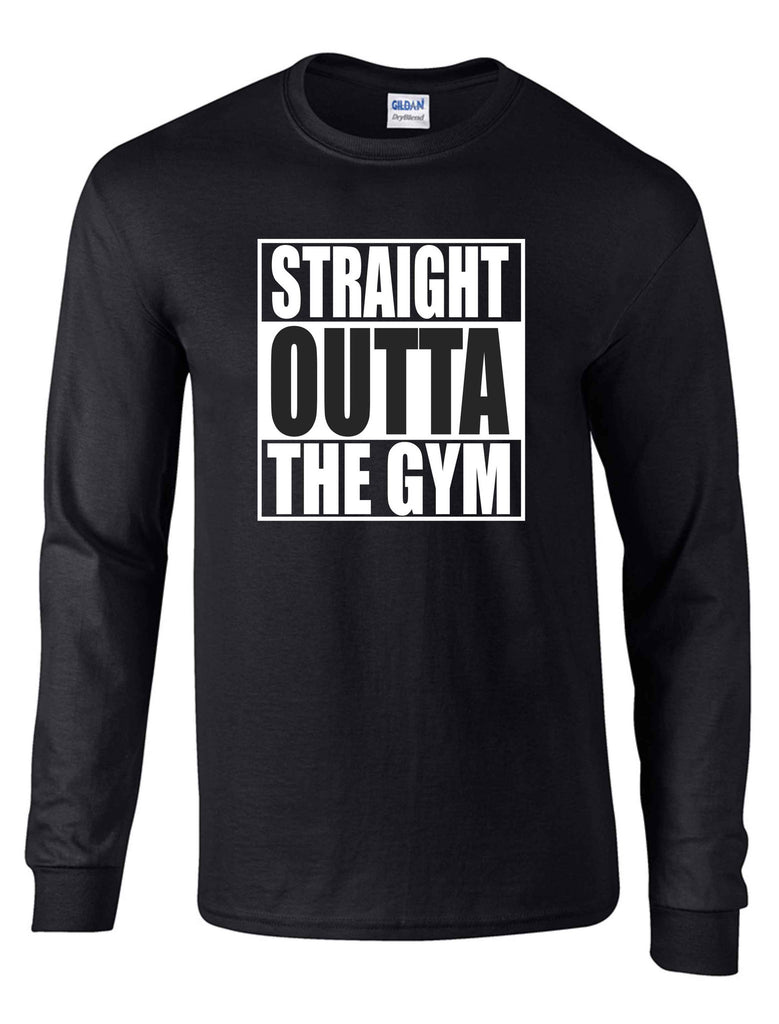 STRAIGHT OUTTA THE GYM  LS BLACK DRYBLEND TSHIRT