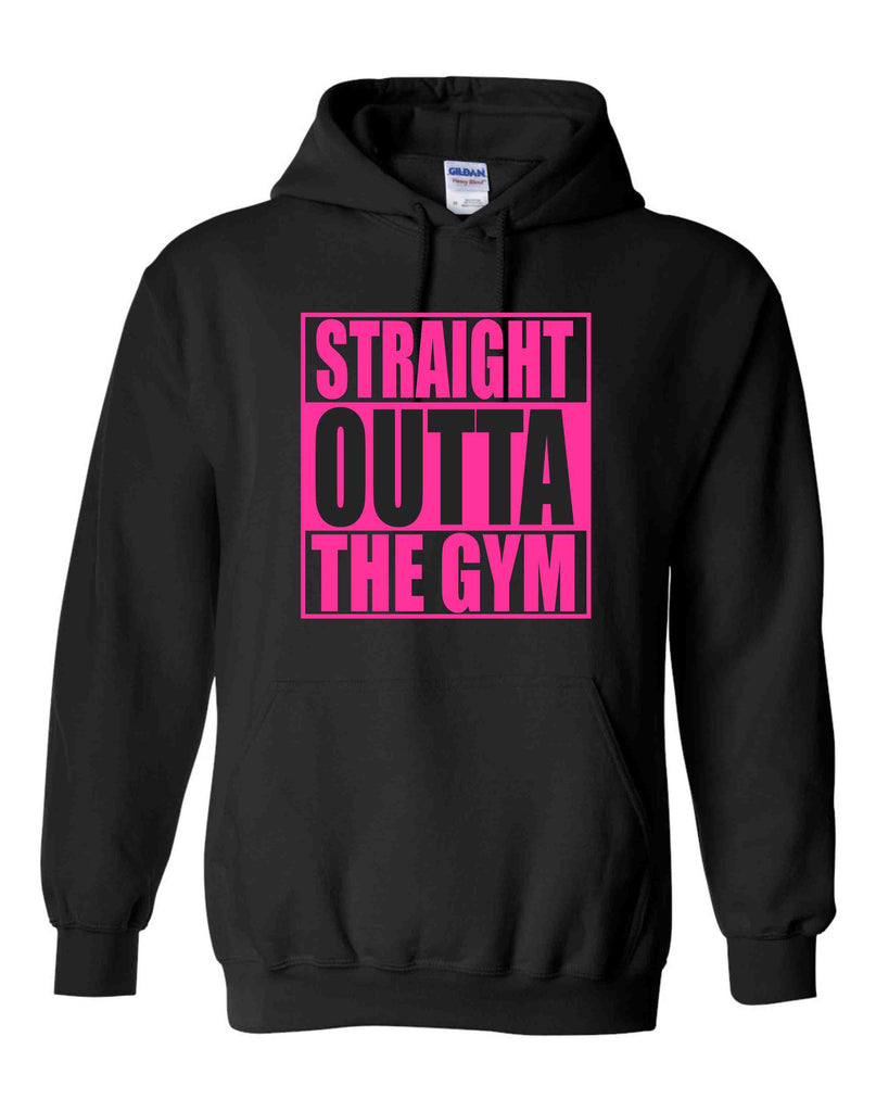 STRAIGHT OUTTA THE GYM PINK ON A BLACK HOODIE