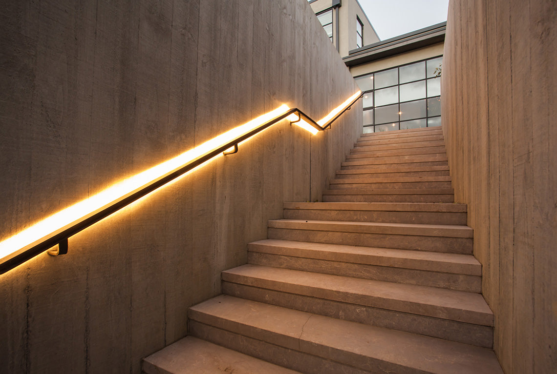 Lighting Basement Washroom Stairs: LEDs Help Elevate Handrails