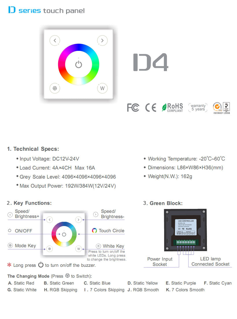 D4 Led Colour Controller Glass Panel Rgbw Dc Switch For 12v Or 24v 96w Lights Specifications Product Feature