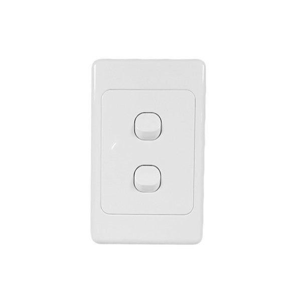 Classic 2 Gang Switch - White - AC - 10A