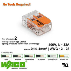 Wago 221-412 Compact Connector - 2 Way from Wago for $1.50