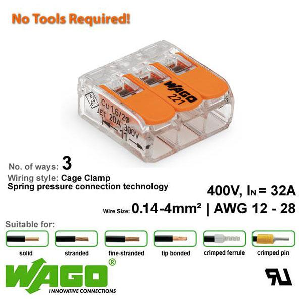 Wago 221-413 Compact Connector - 3 Way from Wago for $1.80