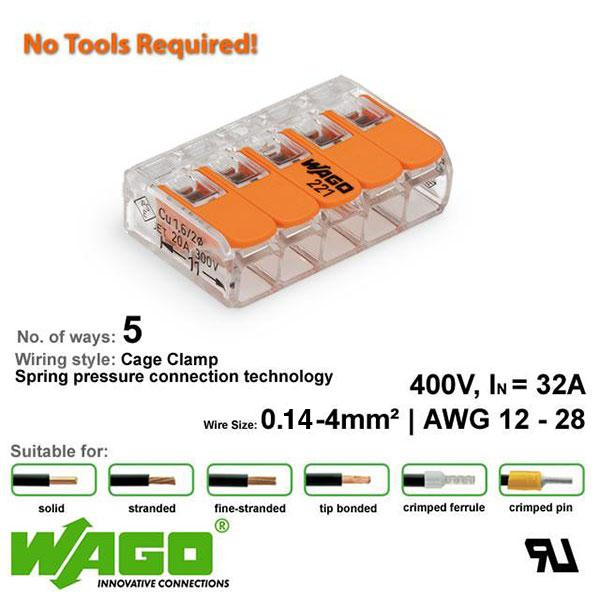 Wago 221-415 Compact Connector - 5 Way from Wago for $2.00