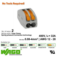 Wago 222-412 Compact Connector - 2 Way from Wago for $0.95