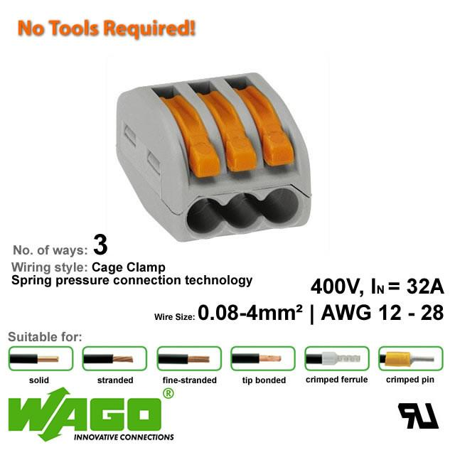 Wago 222-413 Compact Connector - 3 Way from Wago for $1.14