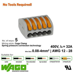 Wago 222-415 Compact Connector - 5 Way from Wago for $1.75