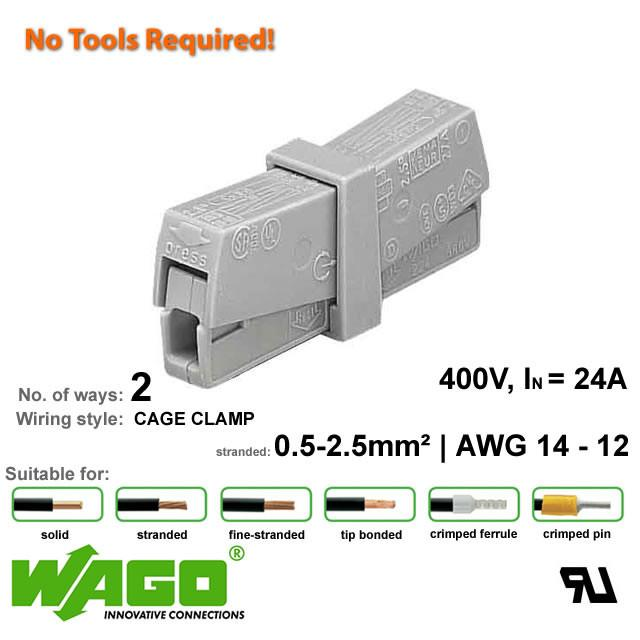 Wago 224-201 Lighting Connector - 2 Way from Wago for $1.68