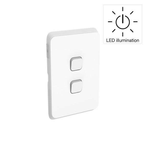 PDL Iconic 2 Gang Switch -AC - 16A - LED illumination - Vivid White from PDL for $27.99