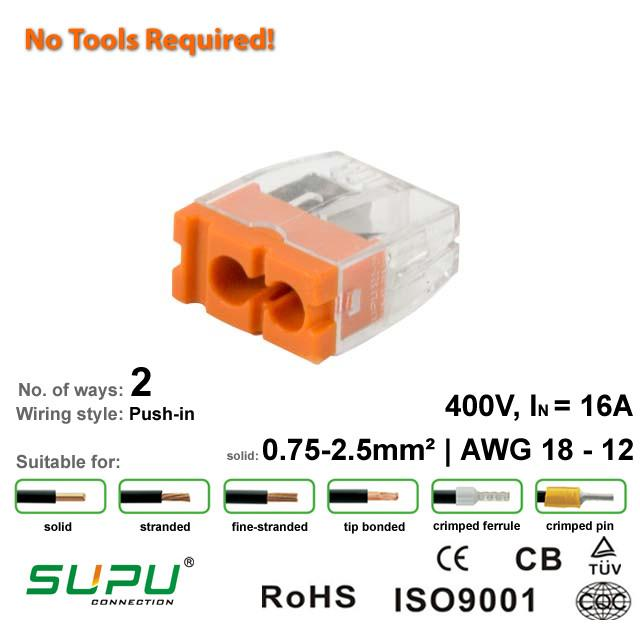 Supu 522402 Push-in Connector - 2 Way