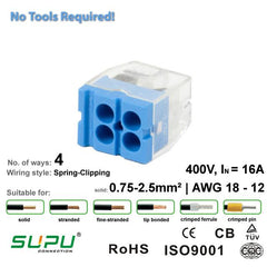 Supu 522404 Push-in Connector - 4 Way from LED Warehouse for $0.49