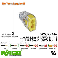 Wago 773-102 Push Wire Connector - 2 Way from Wago for $0.49